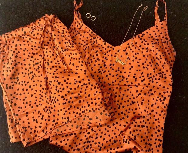 Leopard print satin pajama set