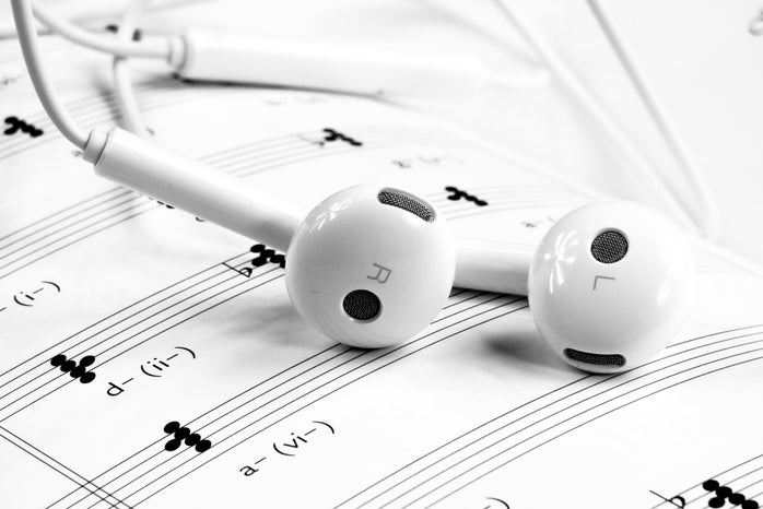 Earbuds and Sheet Music