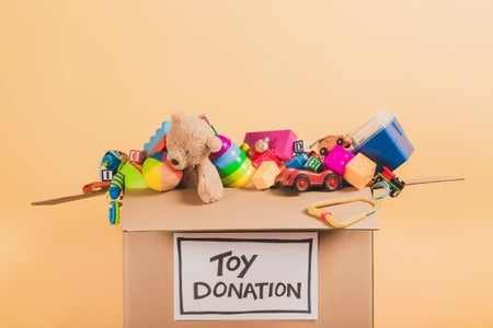 Toy Donation Box with toys in it.