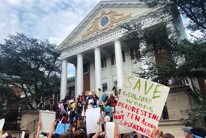 Students of The University of Maryland Protesting outside the administration building