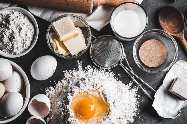 Baking ingredients spread out on table