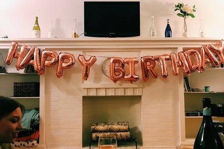 Happy birthday balloon sign
