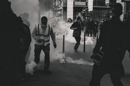 Black and White violent Protest Image