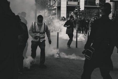 Black and White violent Protest Image