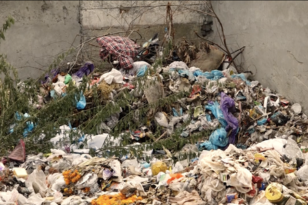 Waste outside of a Sat Nagar crematorium, New Delhi