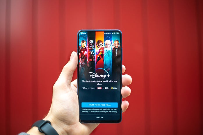 Disney+ home page on phone