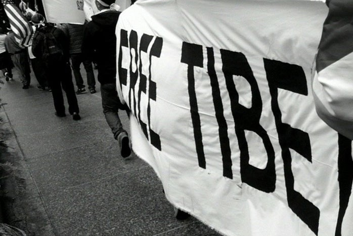 A photo of a Free Tibet protest