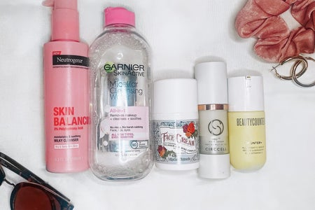 skincare lineup. 5 products