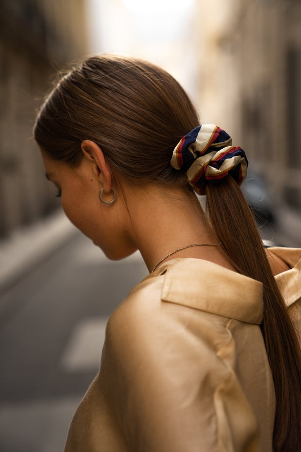 woman with tied hair
