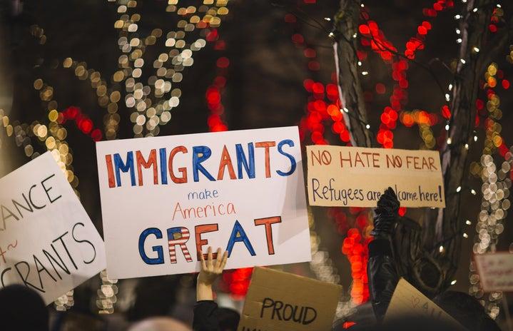 "\""Immigrants make America great\"" sign"