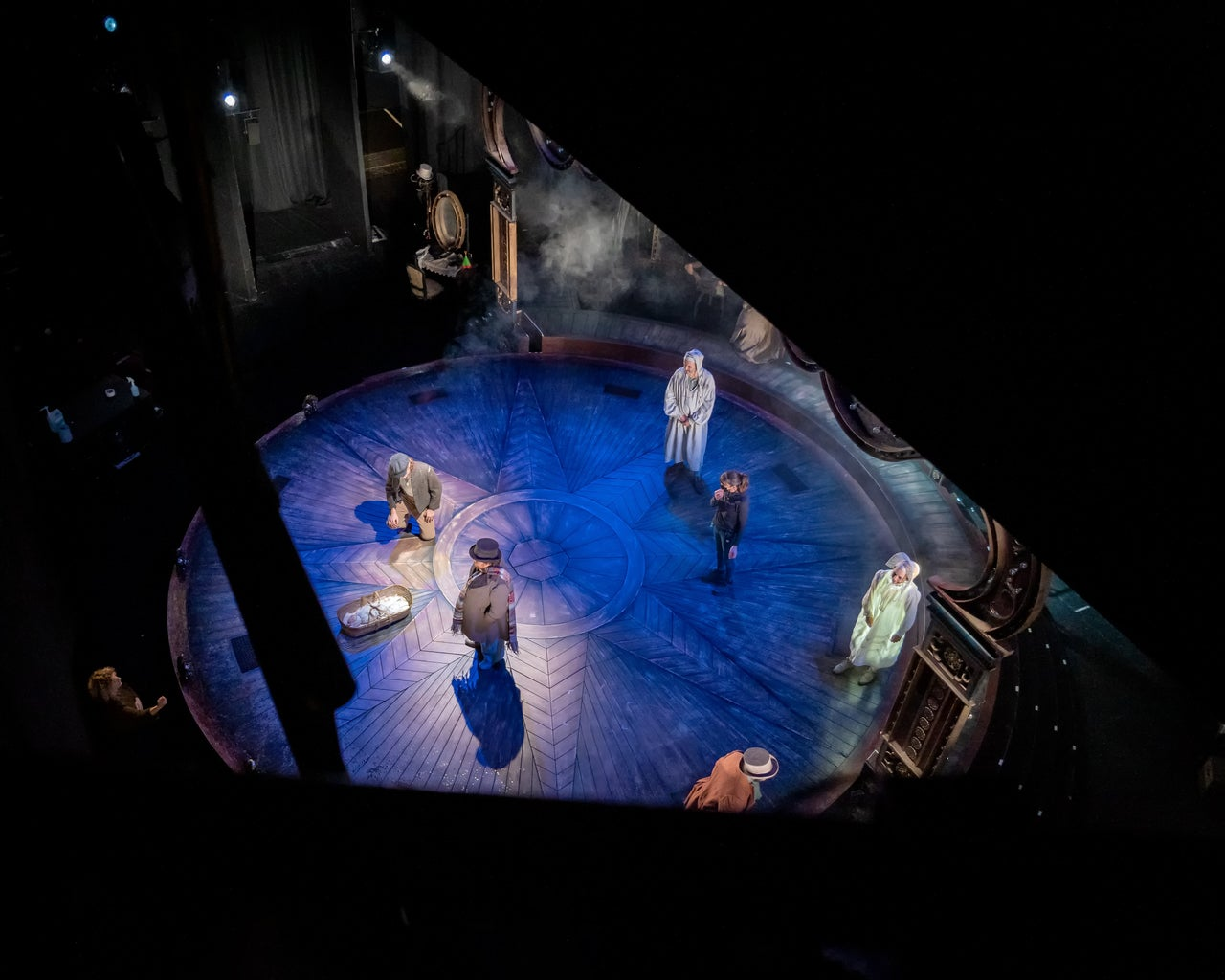 Stage View of A Christmas Carol play during tech rehearsals