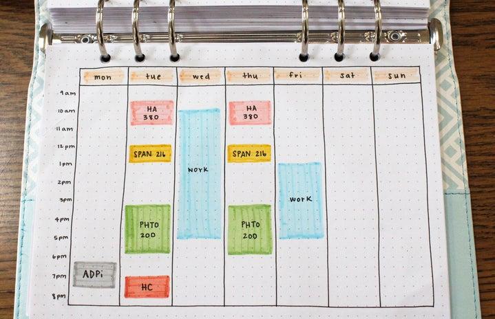 weekly schedule journal spread
