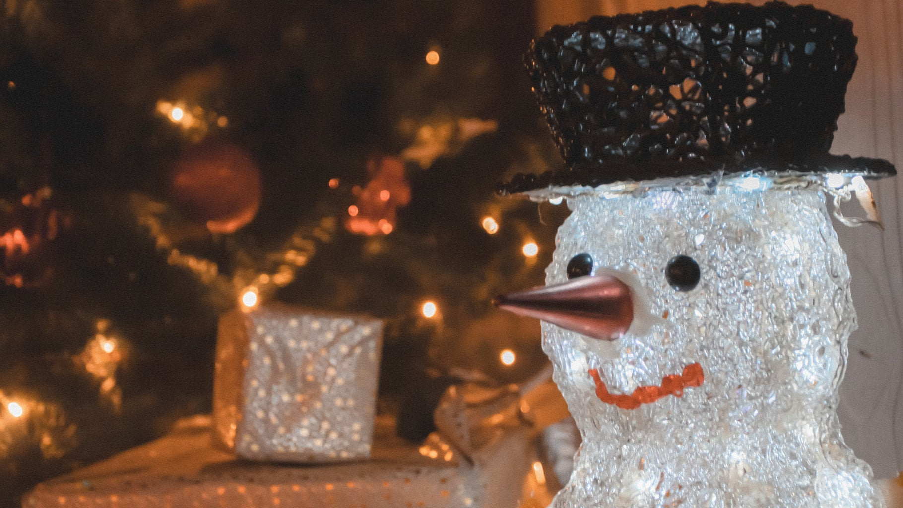 snowman and holiday decorations