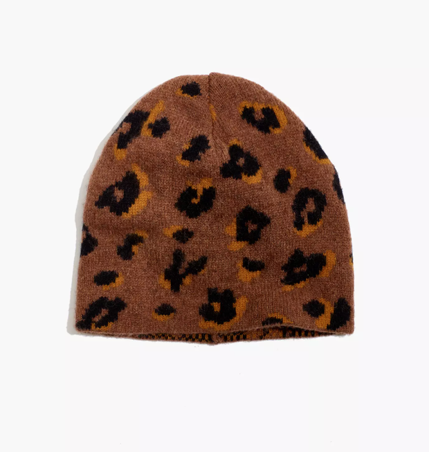 leopard print beanie