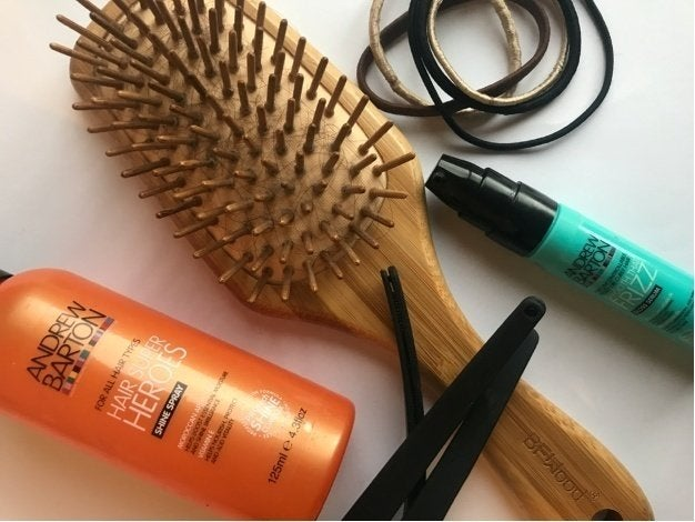 Hairbrush, Hair products and Hair ties