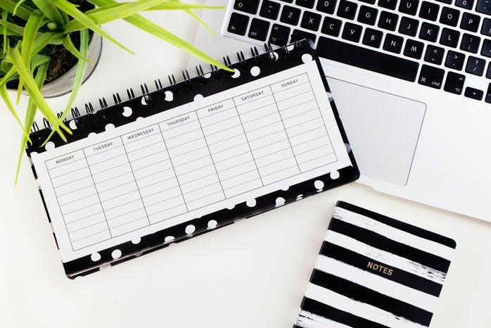 black and white calendar flat lay