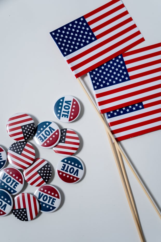 American flags and pins