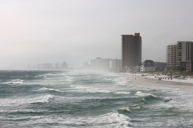 oceanfront buildings before a storm