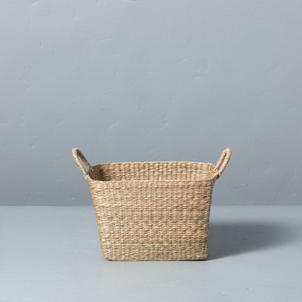 Woven Seagrass Basket With Handles (Hearth and Hand)