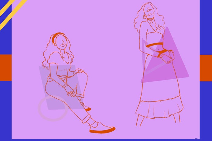 Illustrations of women outlined in orange against purple background, wearing 2000s clothes.