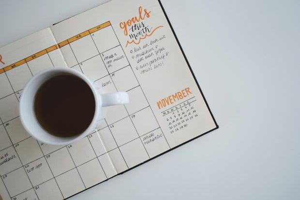 goals, coffee, notebook
