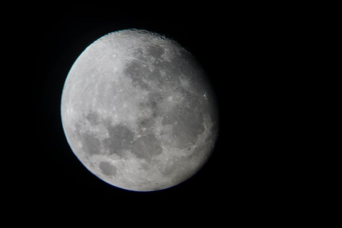 A picture of a waning gibbous moon.