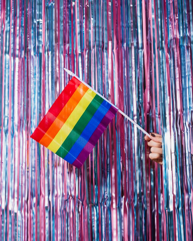 pride flag with streamers