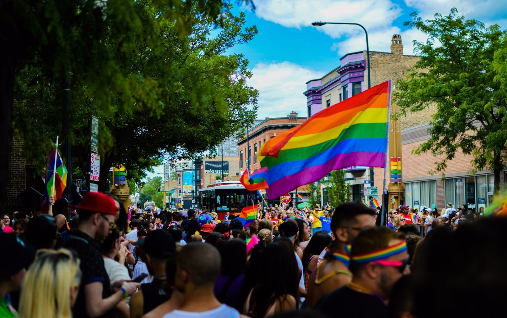 pride parade with rainbow flags