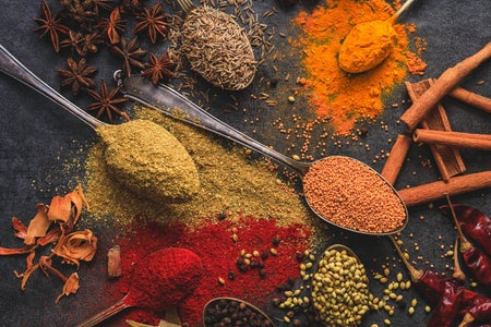 Spices are spilled out on a table