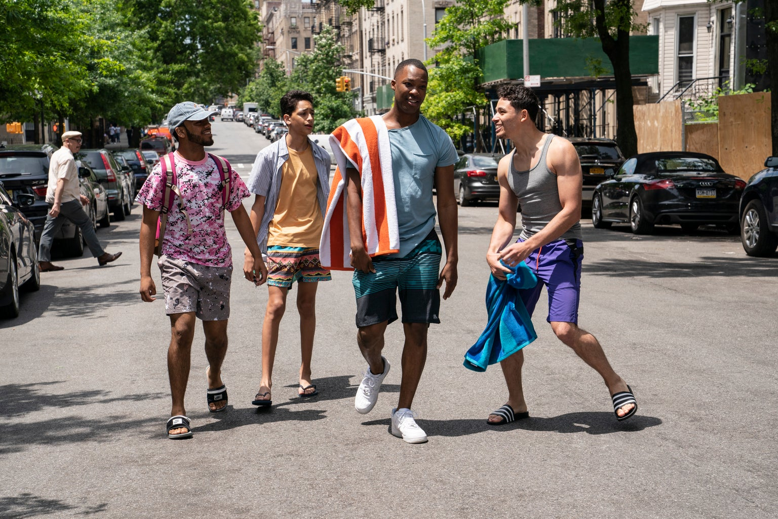 In the Heights Picture Three: Noah Catala, Gregory Diaz IV, Corey Hawkins + Anthony Ramos