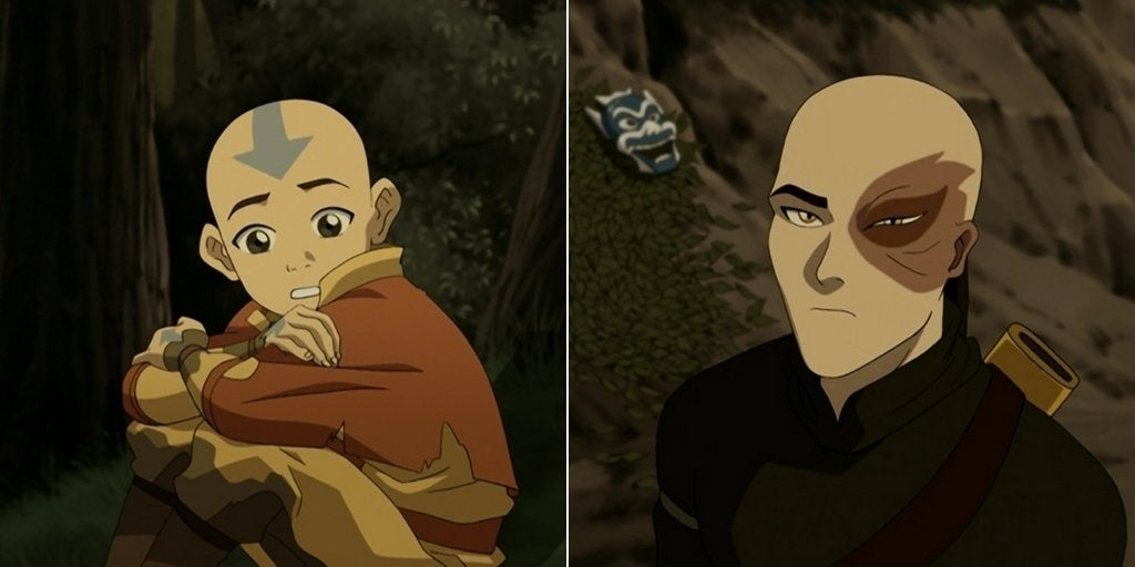 Aang on the right and Zuko on the left from season 1