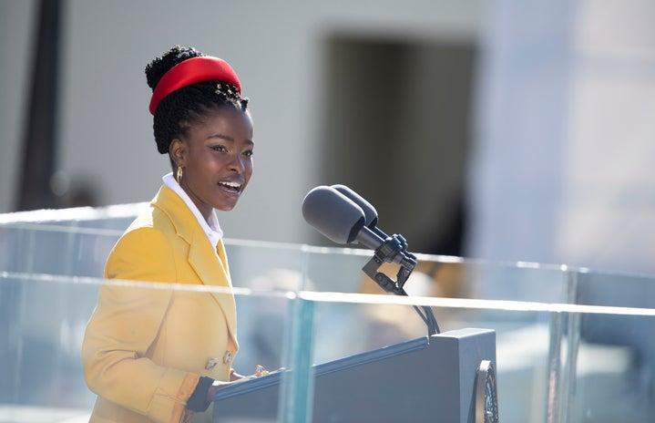Amanda Gorman reciting her poem at the 2021 presidential inauguration
