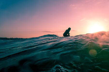 sunset surf girl