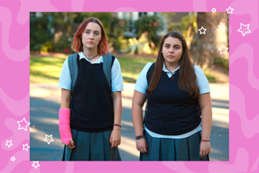"Saoirse Ronan and Beanie Feldstein as Lady Bird and Julie in \""Lady Bird.\"""