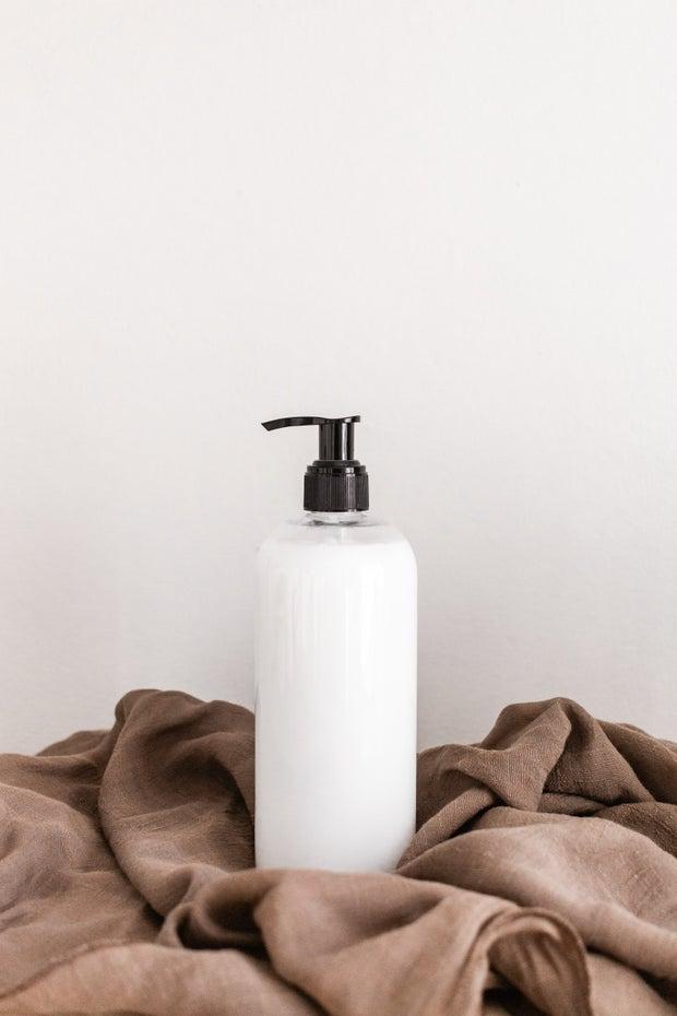 bottle of white lotion