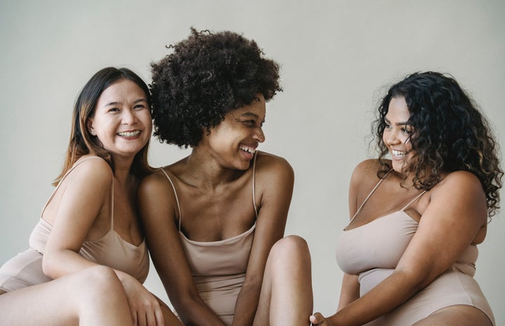 body positive, body, women, woman, lingerie, Black woman, Asian woman, laughing, smiling, acceptance