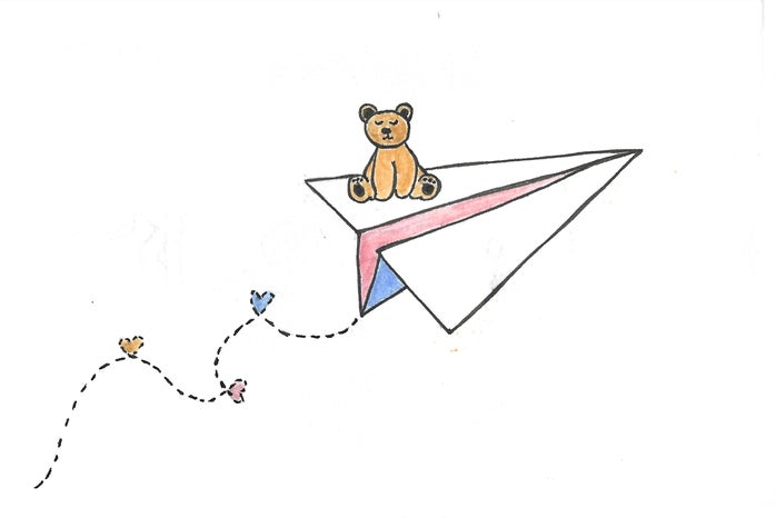 teddy bear on a paper airplane