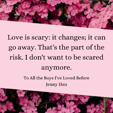 Book quote with a background of pink flowers