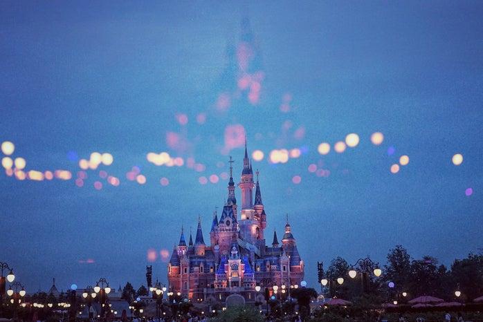 disneyland, night time, castle