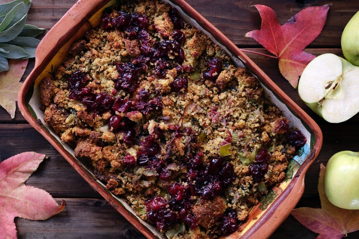 tray of thanksgiving stuffing on table