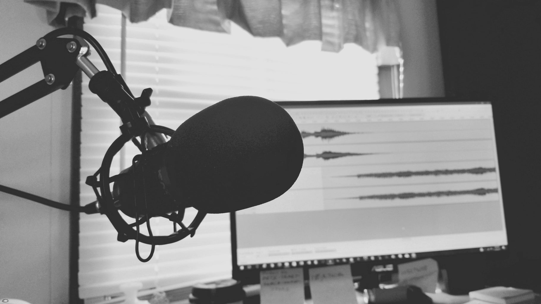 greyscale photography of condenser microphone