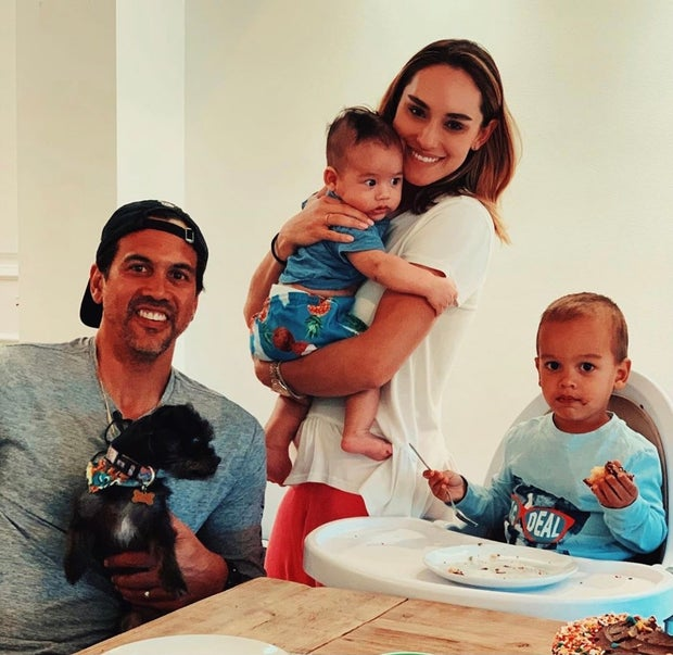 Nikki Sapp-Spoelstra and family at a table
