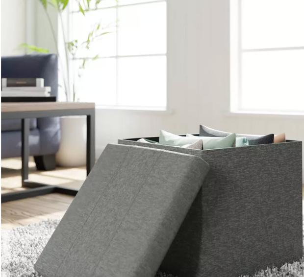 gray storage ottoman