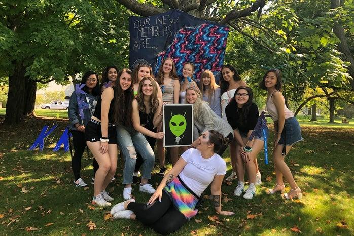 alien themed bid day group photo