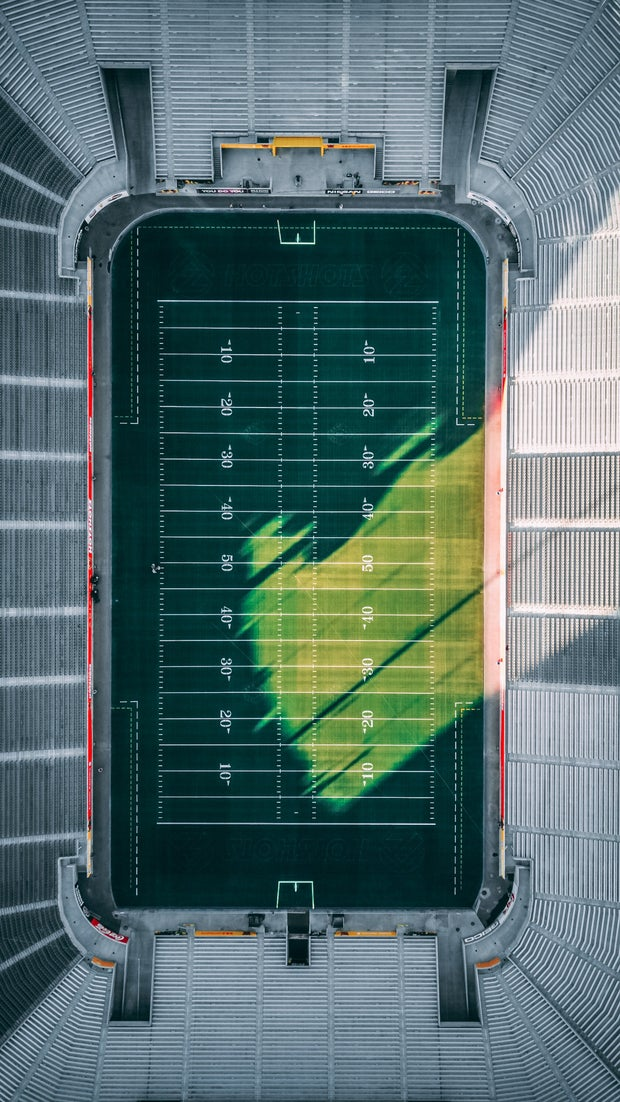 overhead view of football field