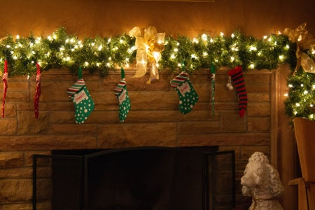 stockings hanging over fire place