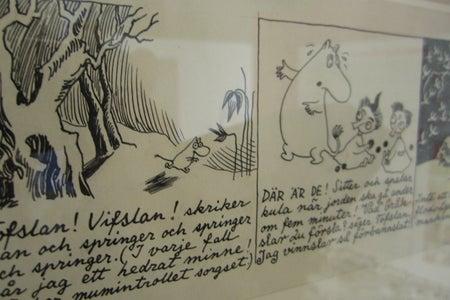 a display of the moomin comics