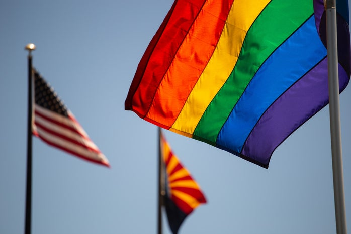 LGBTQ and American flags
