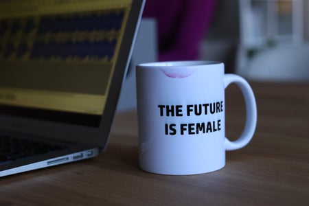 future is female mug with lipstick stain