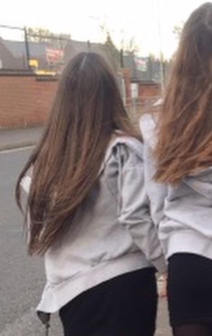 Brunette hair on woman walking